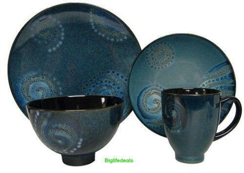 Dinnerware SET 16-piece Galaxy Blue Stoneware Cups Bowls Plates Dishes Kitchen  sc 1 st  Pinterest & 10 best dishes images on Pinterest | Dishes Casual dinnerware and ...