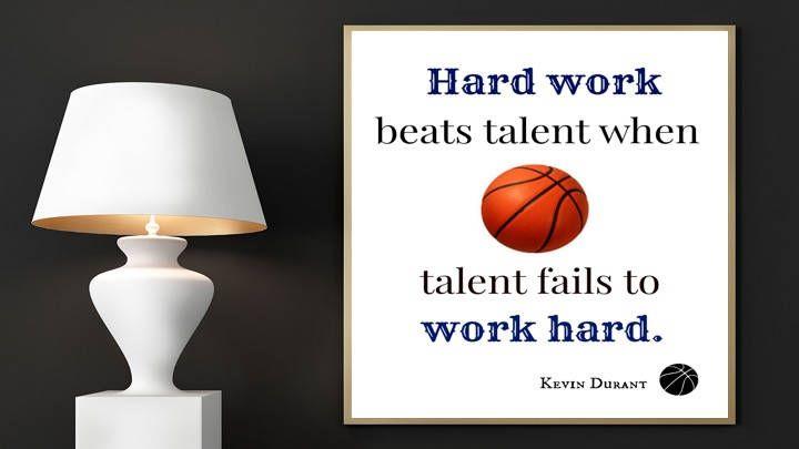 Basketball Print, Hard Work Beats Talent When Talent Fails to Work Hard, Kevin Durant, Digital Print, Printable Art, Basketball Art, Quotes by EducationalArtPrints on Etsy