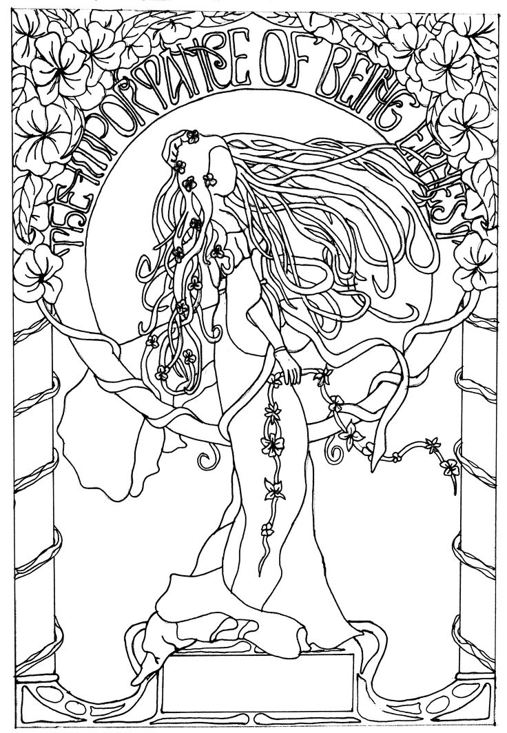 190 best Art Nouveau Coloring Pages images on Pinterest Adult