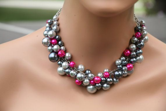 Hot pink (fuchsia)  and gray chunky pearl necklace for your bridal party, statement necklace, chunky pearl necklace, cluster pearl necklace