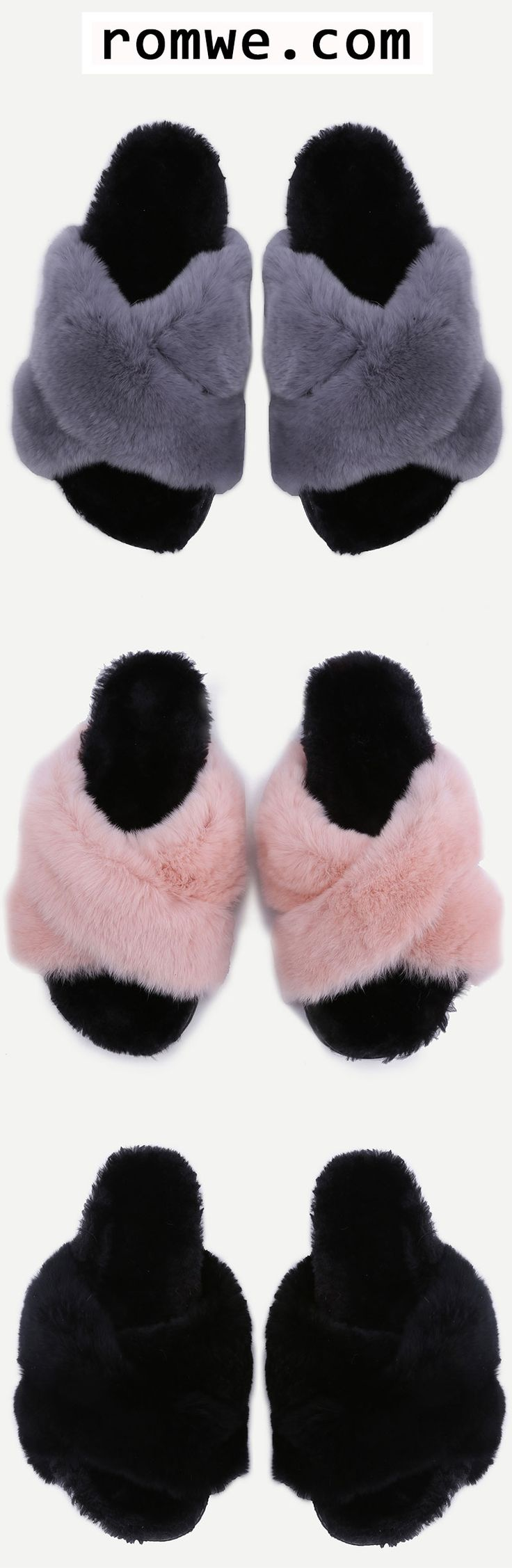 SAVE 60% OFF ON FIRST ORDER- Grey Rabbit Hair Fur Lined Flatform Slippers