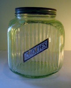 Uranium glass vintage cookie jar. I have this! Cool, but I probably won't be storing food in it.: Vintage Cookie Jars, Cookies Cutters, Cookie Cutters, Vintage Cookies Jars