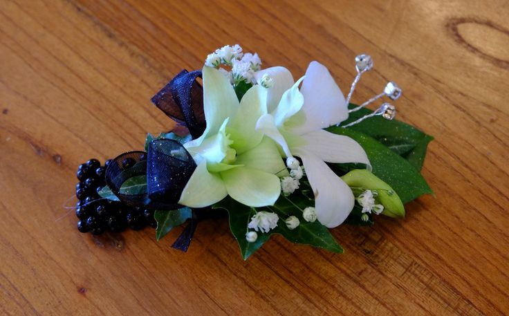 Singapore Orchid, Gypsophila, Black Ribbon, Black Bracelet, Diamante - St Kents College Ball 2014 #rubyandblush#corsage#schoolball#prom#aucklandflorist#floristauckland#orchid