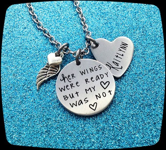 Memorial Jewelry, Custom Remembrance Necklace, Funeral Gift, Loss of husband, Loss of mom, Loss of sister, Loss of Brother ENGRAVED