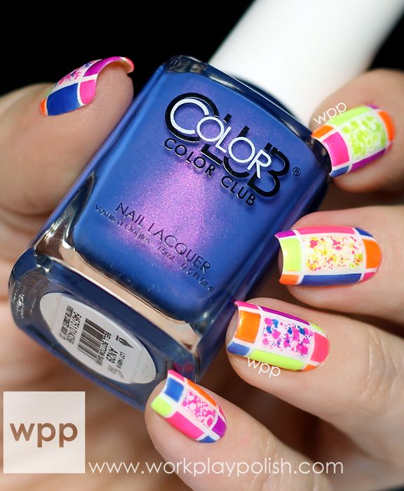 Neon Color Blocking Nail Art