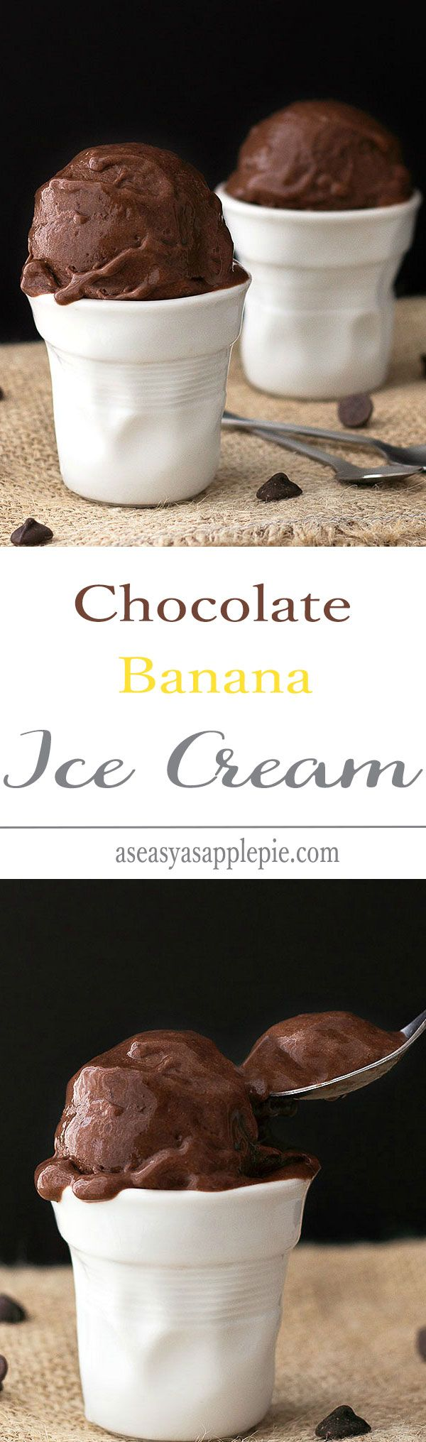 Chocolate Banana Ice Cream - just two ingredients and a blender needed to make this healthy creamy treat. No Cream, No Sugar, NO GUILT!