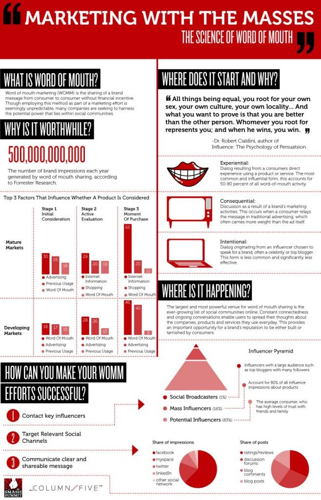 Business infographics marketing with the masses the science of word of mouth the impact of word of mouth marketing