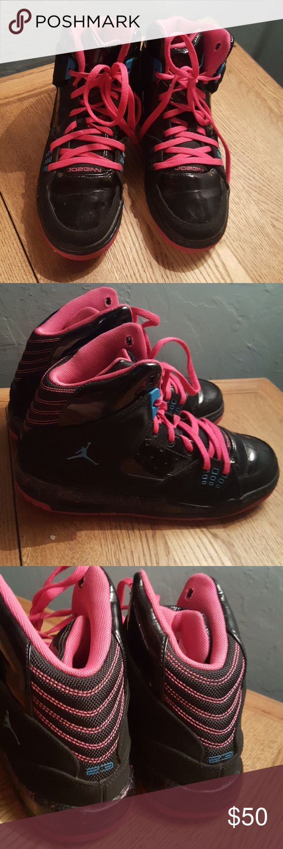 Nike Air Jordan Pink and Black Shoes In very good condition Size 6y Equivalent to Women's 8 and Men's 6 Jordan Shoes Athletic Shoes