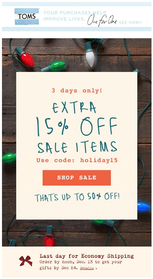 Toms Holiday Sale Email SALE On