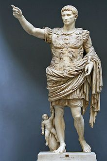 This is a statue of Augustus, who was the founder of the Roman Empire as well as its first Emperor.