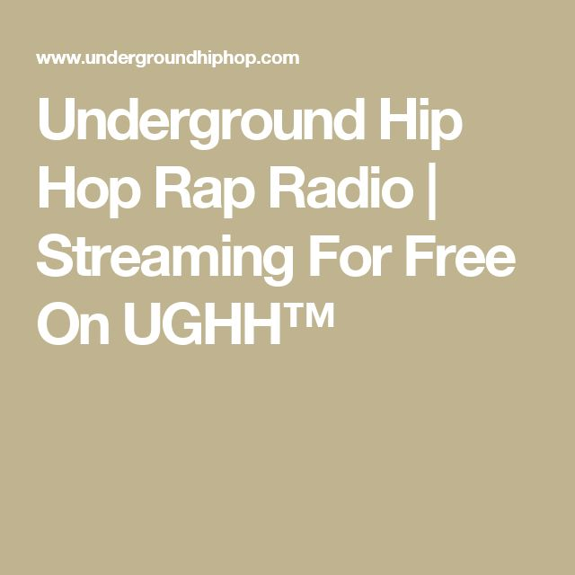 Underground Hip Hop Rap Radio | Streaming For Free On UGHH™