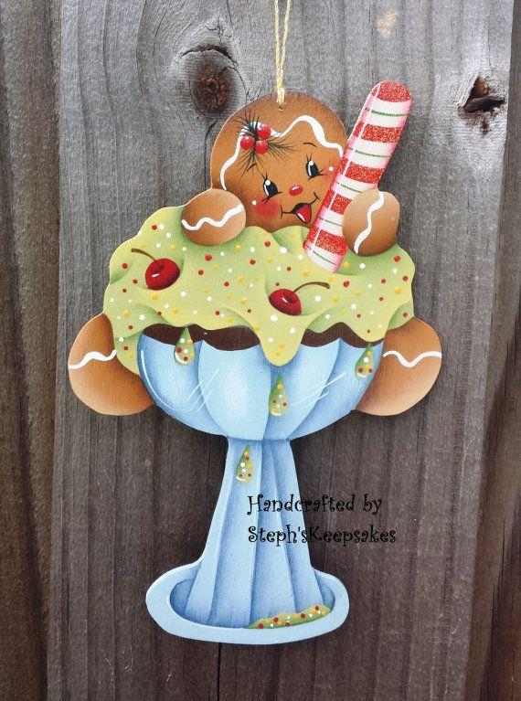 Handpainted Wooden Christmas Gingerbread by stephskeepsakes