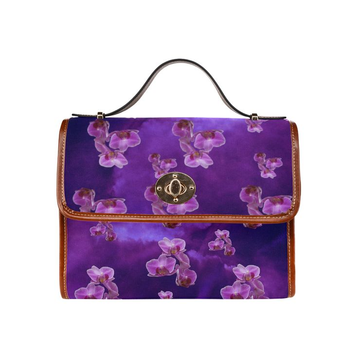 Purple Orchids Waterproof Canvas Bag/All Over Print. FREE Shipping. #artsadd #bags #flowers