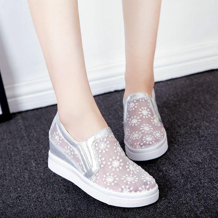 2016 Summer Lace Gauze Single Shoes Female Women's Shoes Elevator Shoes Cutout Breathable Casual Shoes Female Shoes Network