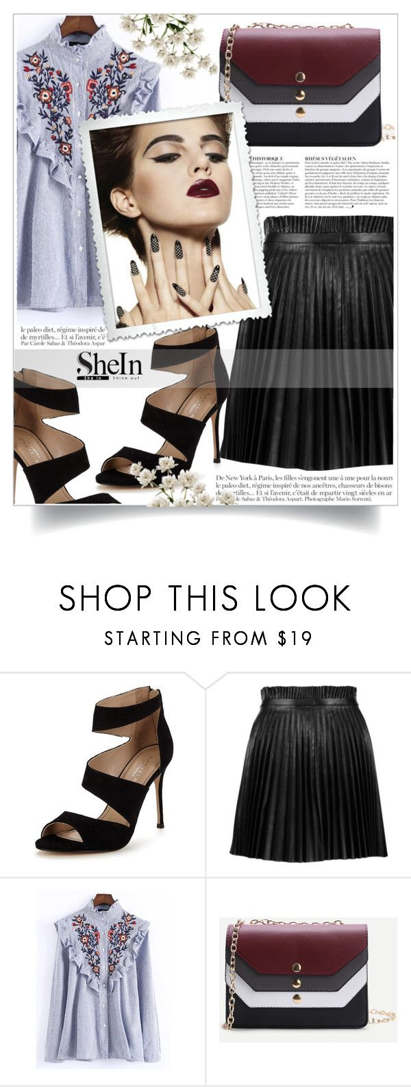"""""""Blue Blouse- SheIn"""" by aleksandra985 ❤ liked on Polyvore featuring Carvela, RED Valentino, Anja and WithChic"""