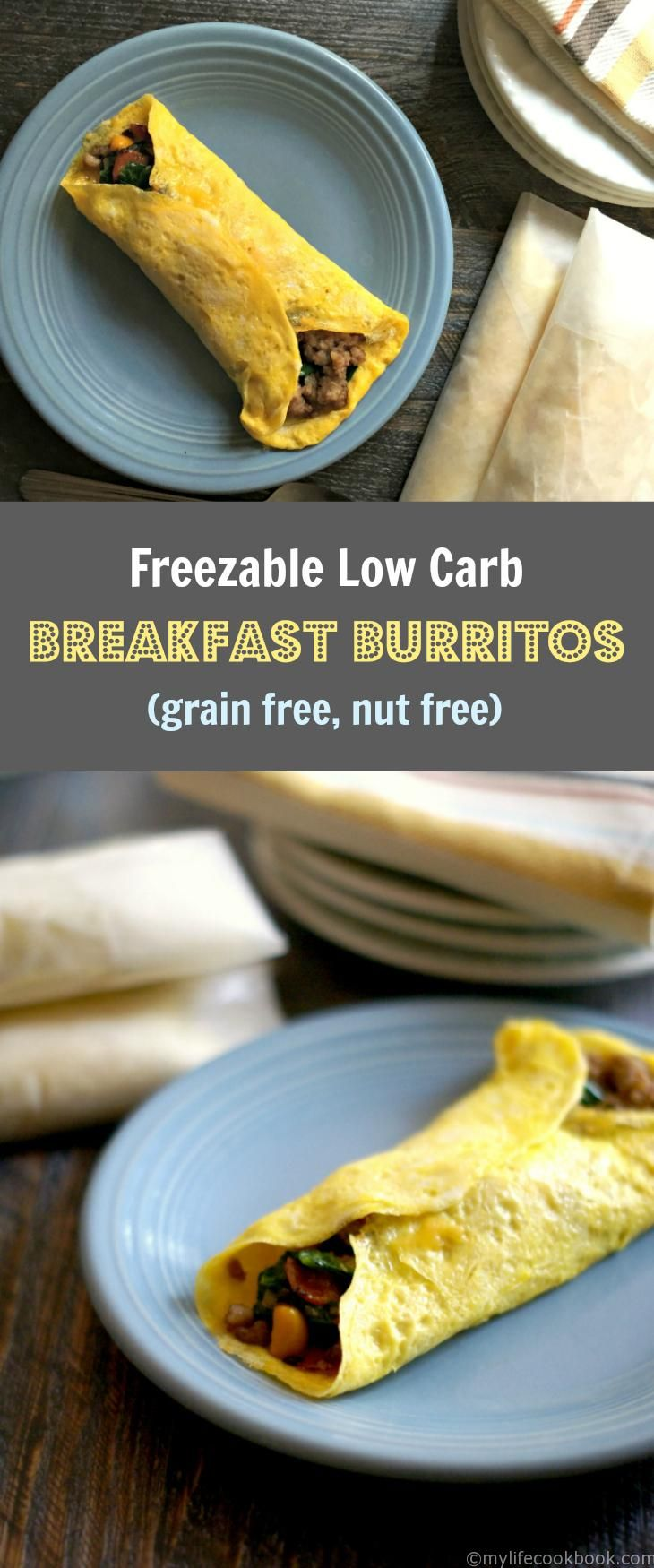 You can make these freezable low carb breakfast burritos in minutes. A delicious low carb breakfast to go.