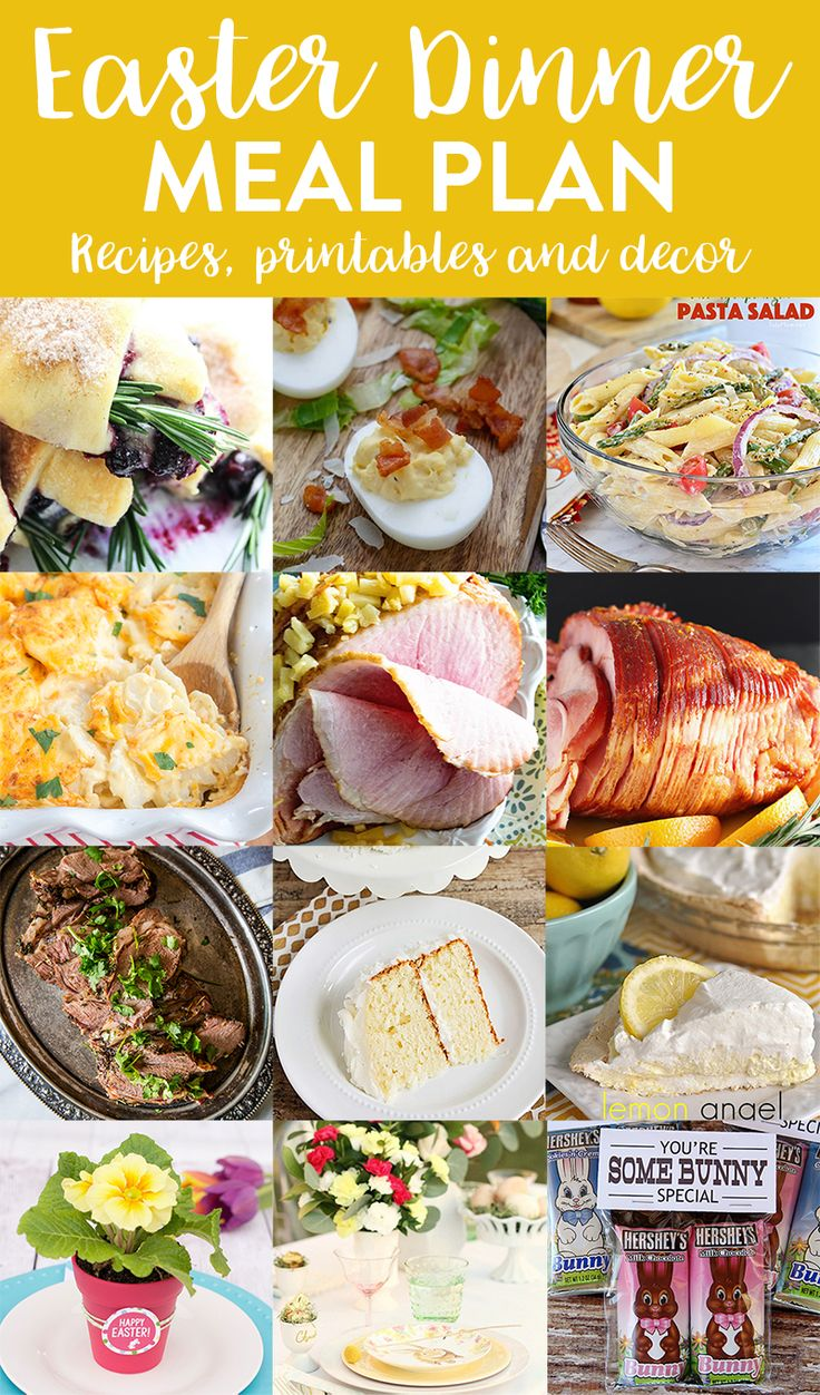 Easter Dinner Meal Plan - a full menu of recipes for Easter dinner, plus some gorgeous Easter table setting ideas and Easter printables!