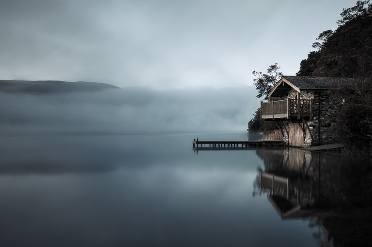The Duke Of Portland Boathouse on Ullswater.An early shot, dark and moody,an hour or so before sunrise.