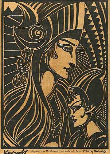 "Harry Kernoff, ""Byzantine Madonna"" #art #madonna #motherandchild #byzantine #woodcut #blackandwhite #DukeStreeGallery"