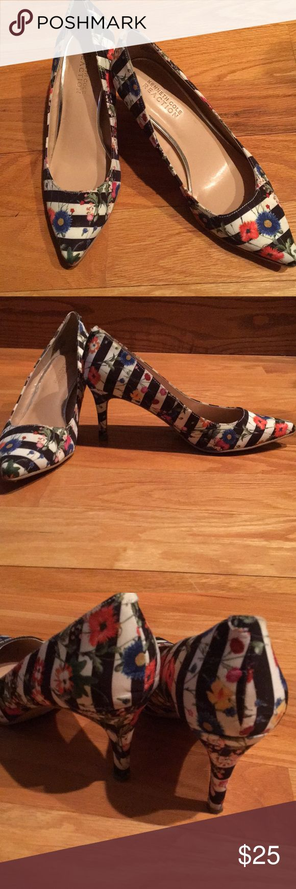 Floral striped pumps These trendy mixed patterned pumps are a fun way to spice up your wardrobe! Barely worn. Kenneth Cole Shoes Heels