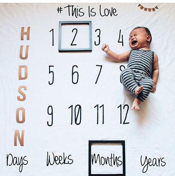 Baby Monthly milestones anniversary milestone blanket by DotBoxed
