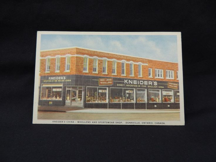 VTG Post Card Kneiders China Woolens Sportswear Shop Dunnville Ontario Canada