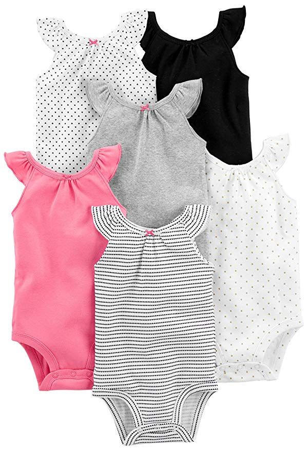 6cf632c04 Simple Joys by Carter's Baby Girls' 6-Pack Sleeveless Bodysuit, Black,  White Pink Ruffle, 0-3 Months