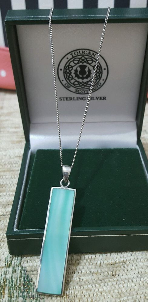 925 STERLING SILVER JEWELLERY NECKLACE WITH AQUA MOTHER OF PEARL PENDANT in Jewellery & Watches, Fine Jewellery, Fine Necklaces & Pendants | eBay
