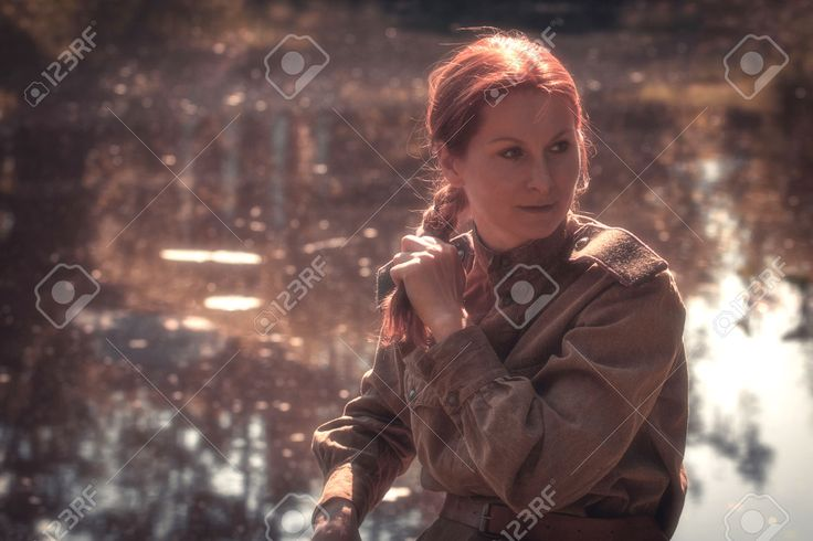Young Woman Wearing Red Army Form Of 1943 Year. Defocused Effect.. Stock Photo, Picture And Royalty Free Image. Image 28715469.