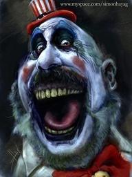 Scary clown with bad teeth