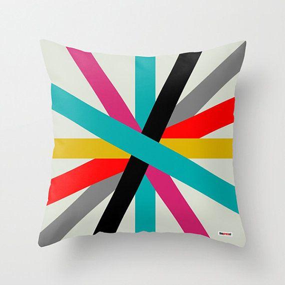 Decorative throw pillows - Colorful Pillow cover - Stripes pillow- Modern pillow - Design cushion - Contemporary pillow