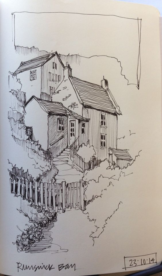 Line sketch of Runswick Bay, North Yorkshire Building unto a hill. Amazing. And being able to adapt with the landscape is so important to nature.: