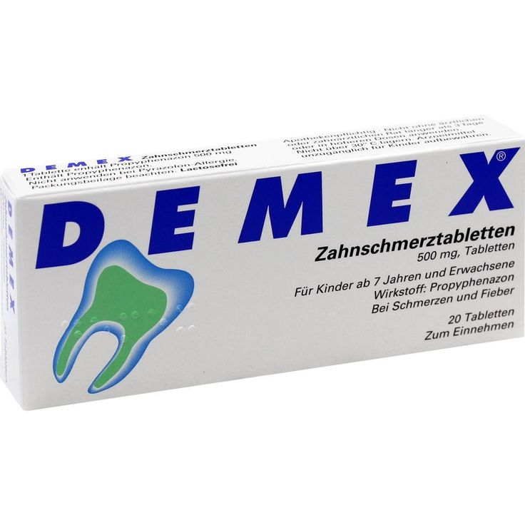 DEMEX Schmerzmittel gegen Zahnschmerzen Zahnschmerztabletten:   Packungsinhalt: 20 St Tabletten PZN: 04346304 Hersteller: BERLIN-CHEMIE…