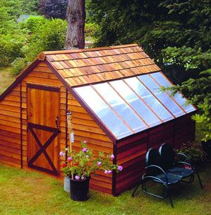 """""""The Sunhouse makes an ideal art studio, workshop, hobby greenhouse, or garden getaway. Made of BC Redwood Cedar, in Canada."""""""