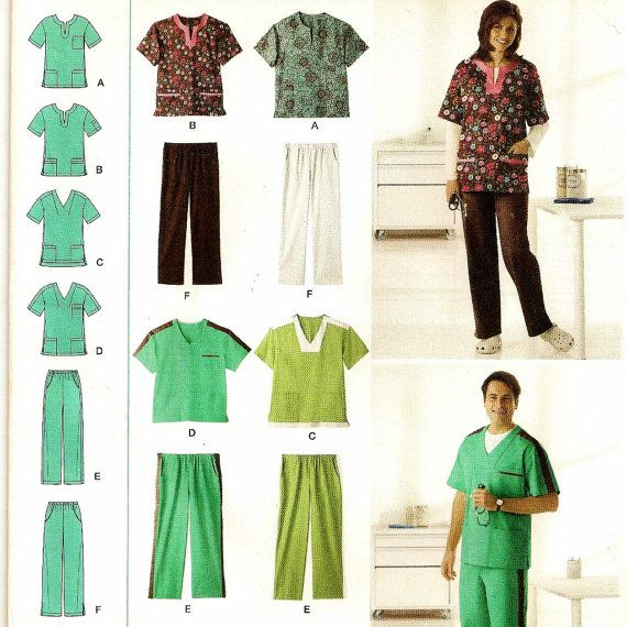 A Scrub Top & Scrub Pants Pattern with Neckline and Pocket Variations for Misses, Men, and Teens