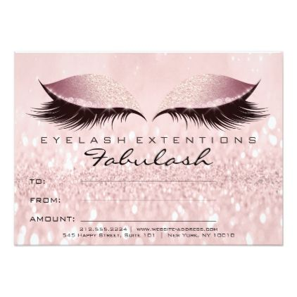 Lashes Studio Pink Makeup Certificate Gift Glitter Card - glitter gifts personalize gift ideas unique