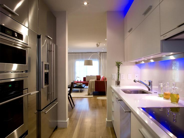 Blue Lighting Casts A High Tech, Futuristic Mood In This Modern Galley Style  Kitchen. Part 42