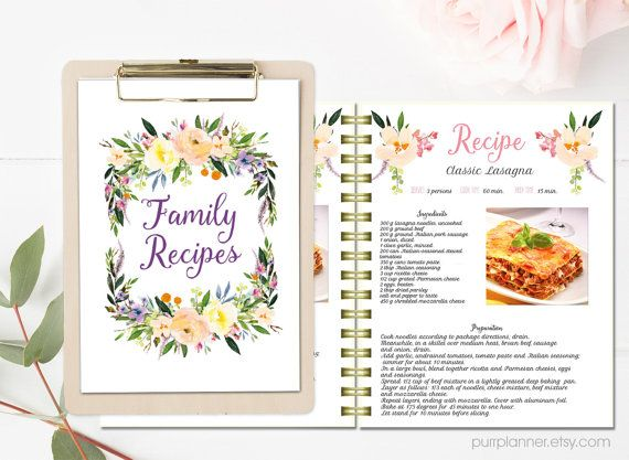 Floral Printable Cook Book Editable Recipe Template Recipe Pages