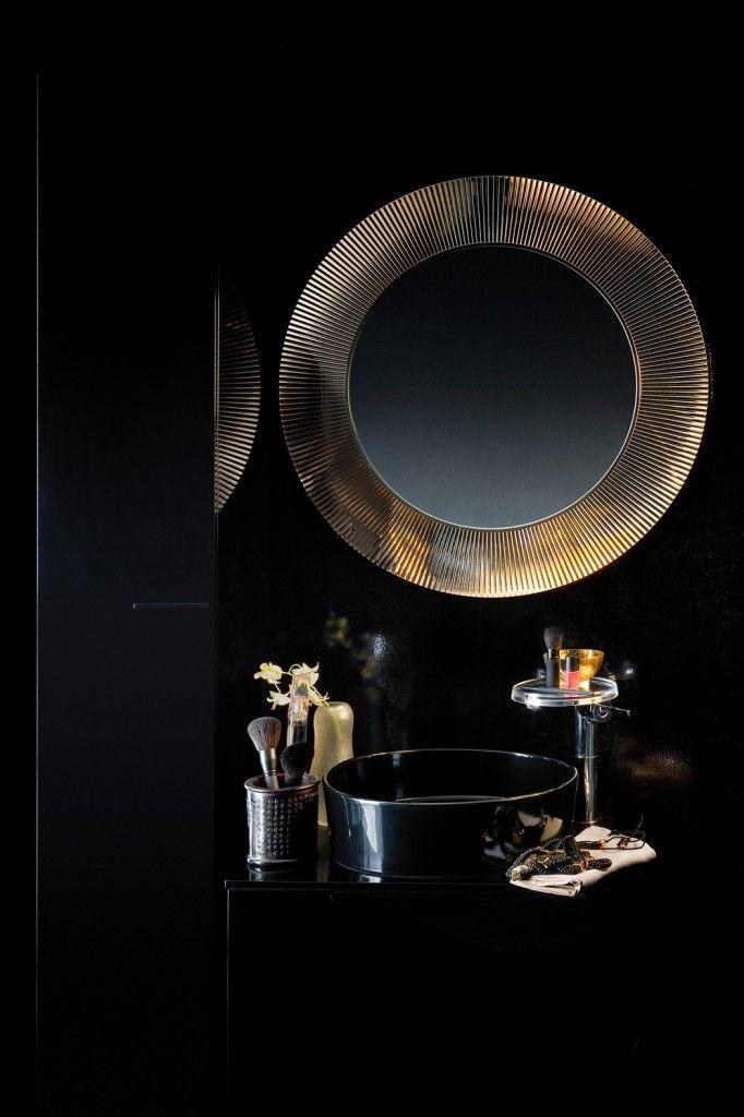 Black and gold bathroom. Kartell by @LAUFEN Bathrooms #InteriorDesign #Bathrooms #LuxuryInteriors