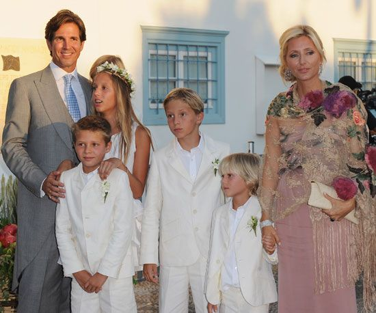 Greek Royalty: Prince Pavlos of Greece and Princess Marie-Chantal brought their family to celebrate the union. They partied the night before too.