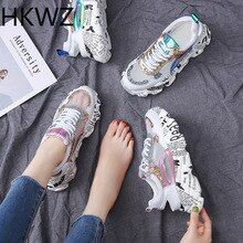 Spring sports flat women's shoes casual breathable mesh wild Harajuku fashion sequins rhinestones with muffin platform sandals