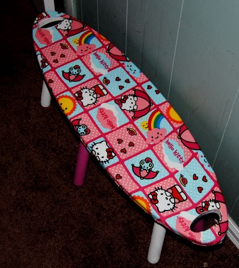 Hello Kitty Themed Kids Surfboard Bench Redesign unique thrift store kids furniture into fun character themed pieces using fabric and Mod Podge