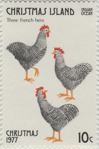 ◙ Christmas Island, Postage Stamp, The Twelve Days of Christmas, Three French Hens. ◙