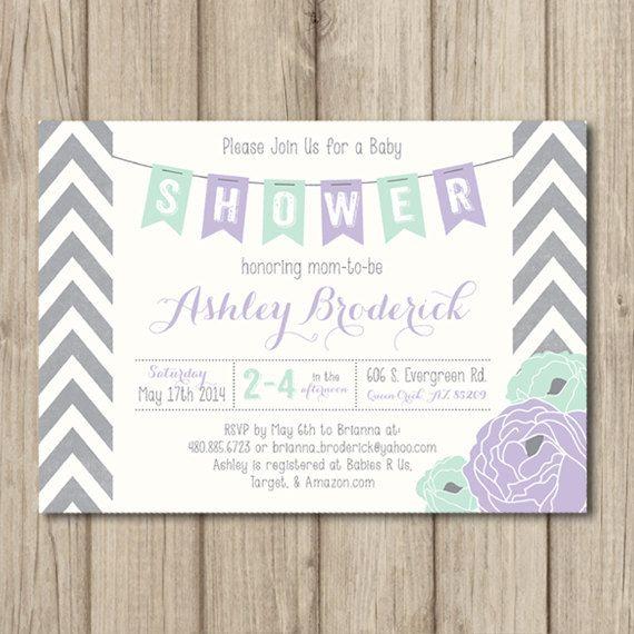 Chevron bebé ducha invitación púrpura púrpura por kimberlyjdesign