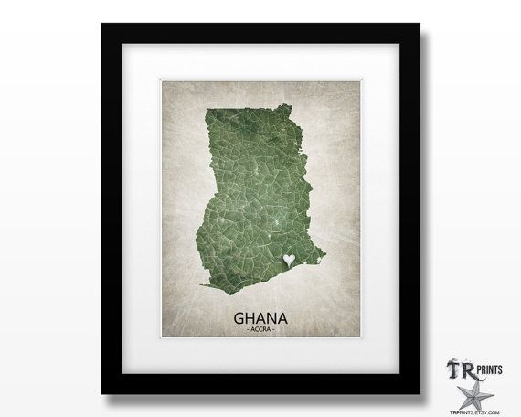 :: DESCRIPTION :: Ghana Africa personalized map print. Home Is Where The Heart…