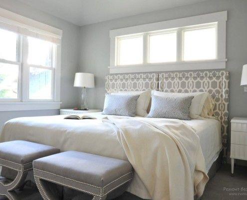 Светло-серые оттенки в спальной комнате