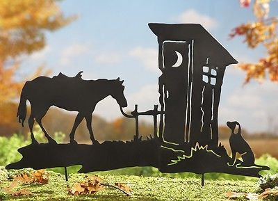 """Rustic Country Outhouse & Horse w/ Guard Dog Scene Metal Shadow Yard Stake 28""""W"""