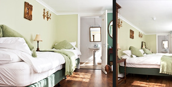 Pelleas Bedroom shown as twin or double for wheelchair access as an end on end twin