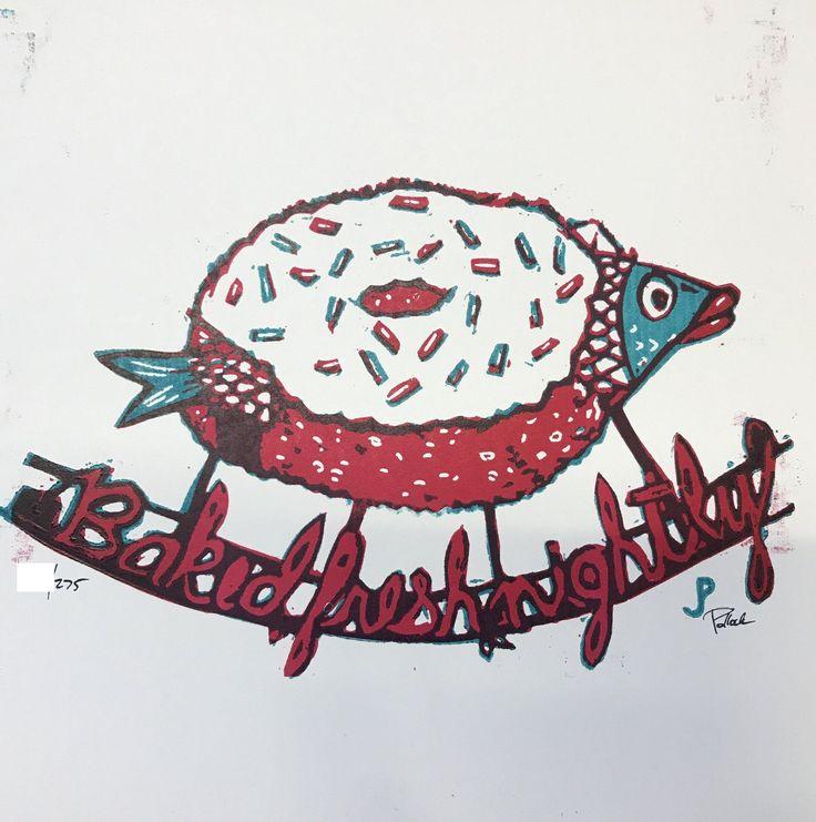 Jim PollockBaked Fresh NightlyLinoleum Block Print12.5 x 12.5S/N of 275Ships via USPS tracking / insurance.Note: Due to Jim's printing style it's comm... #nightly #variant #bakers #dozen #fresh #baked #phish #poster #print #pollock