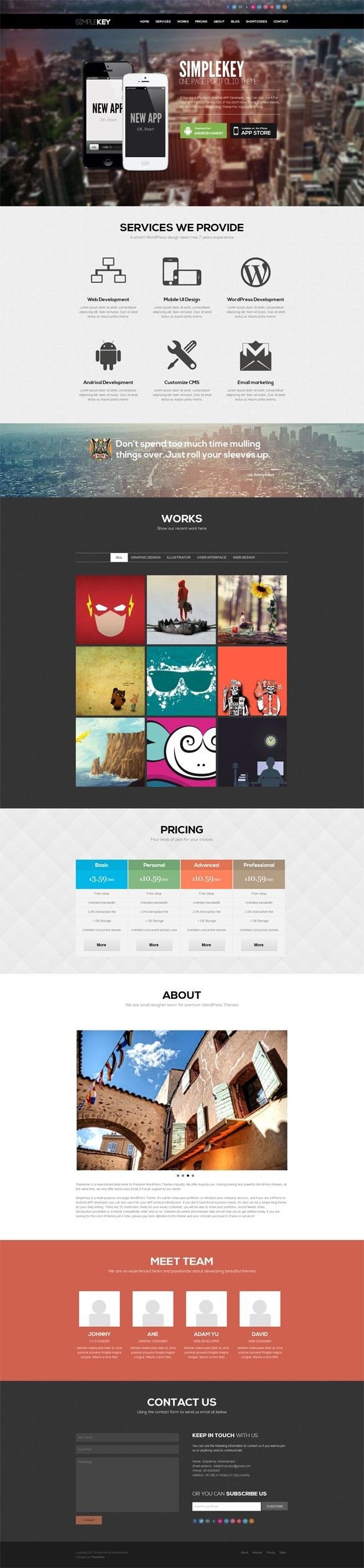 SimpleKey, One Page Portfolio #WordPress Theme